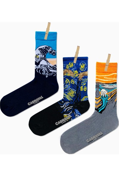 Carnaval Socks 3'lü Art Socks Desenli Renkli Çorap