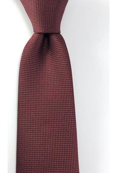 Pierroni Düz Bordo Oxford Desen Mendilli Kravat