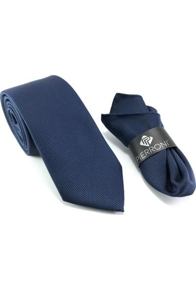 Pierroni Düz Lacivert Oxford Desen Mendilli Kravat