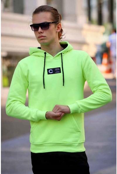 Madmext Baskılı Neon Yeşil Kapşonlu Sweatshirt 4163