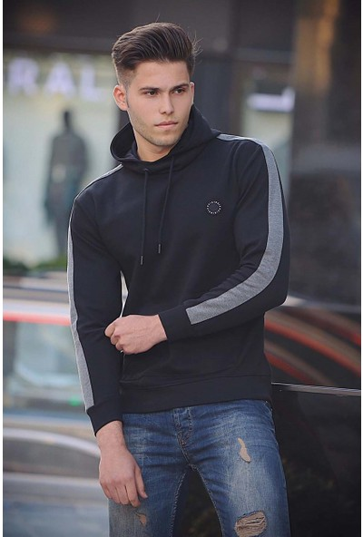 Madmext Siyah Basic Kapşonlu Sweatshirt 4165