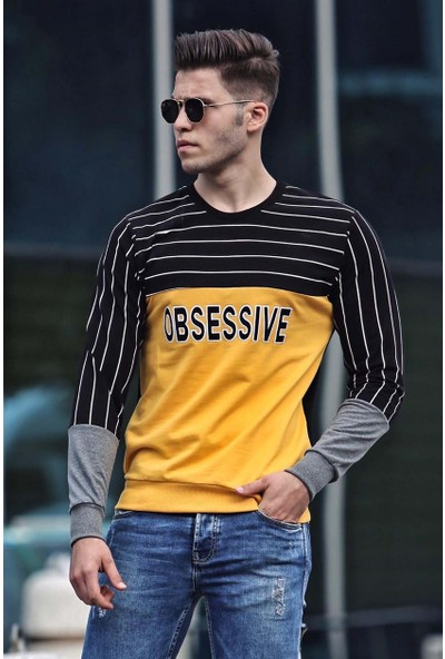 Madmext Baskılı Sarı Sweatshirt 4184