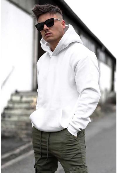 Madmext Beyaz Oversize Kapşonlu Sweatshirt 4391