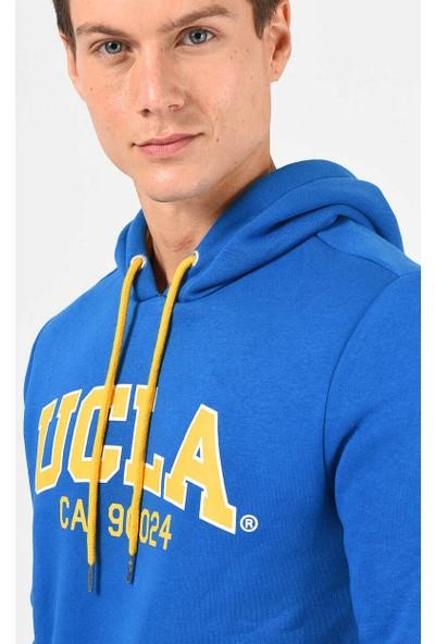 Ucla Alto Mavi Kapüşonlu Baskılı Erkek Sweatshirt