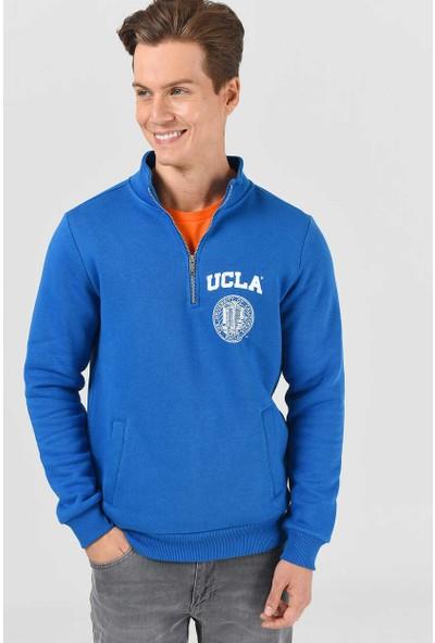 Ucla Maywood Mavi Yarım Fermuarlı Baskılı Erkek Sweatshirt