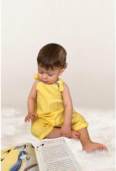 Özgür Yağmur Unisex Sarı Bebek Keten Salopet Tulum