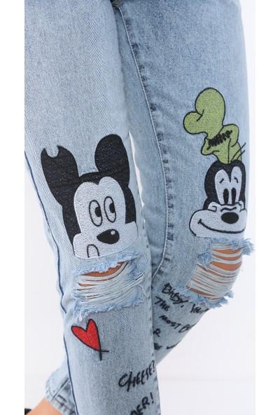 PodiumStar Yüksek Bel Nakışlı Mom Jeans Kot Pantolon