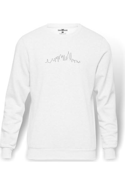 Tshirthane Silhouette New York City Skyline Baskılı Beyaz Erkek Örme Sweatshirt Uzun Kol