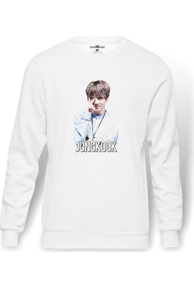 Tshirthane K Pop Jungkook Koreli Muzik Grubu Baskılı Beyaz Erkek Örme Sweatshirt Uzun Kol