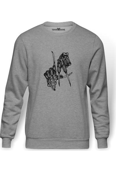 Tshirthane Freddy Krueger La Los Angeles Hand Baskılı Gri Erkek Örme Sweatshirt Uzun Kol