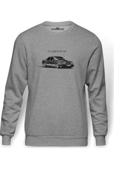 Tshirthane Mercedes E W 124 Baskılı Gri Erkek Örme Sweatshirt Uzun Kol