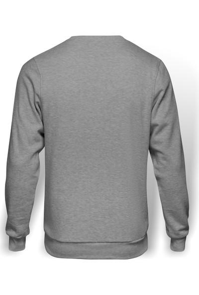 Tshirthane Saturn Baskılı Gri Erkek Örme Sweatshirt Uzun Kol