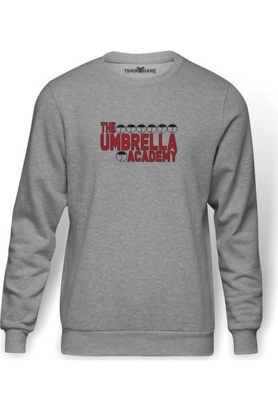 Tshirthane The Umbrella Academy Logo&Yazi Baskılı Gri Erkek Örme Sweatshirt Uzun Kol