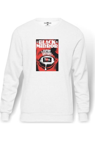 Tshirthane Black Mirror Red Baskılı Beyaz Erkek Örme Sweatshirt Uzun Kol