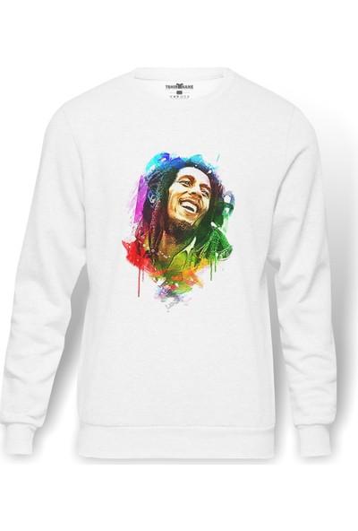 Tshirthane Bob Marley Aquarelle Baskılı Beyaz Erkek Örme Sweatshirt Uzun Kol