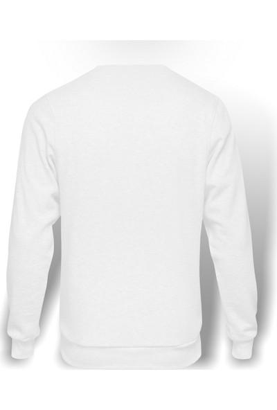 Tshirthane Kızıl Yıldız Baskılı Beyaz Erkek Örme Sweatshirt Uzun Kol