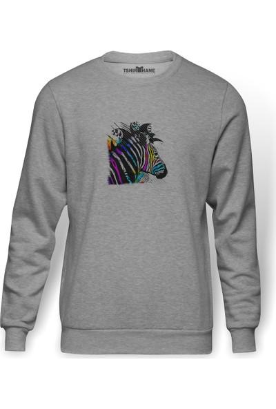 Tshirthane Zebra Baskılı Gri Erkek Örme Sweatshirt Uzun Kol