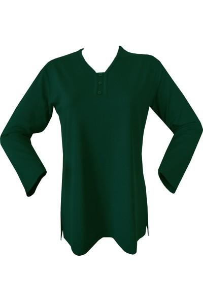 Rüya Petrol Yeşil Anne V Yaka Penye Bluz