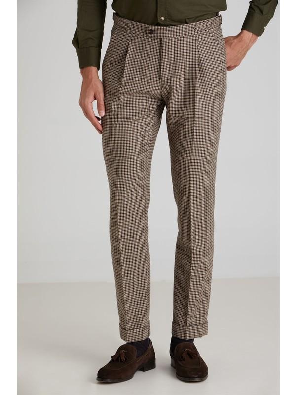 Dufy Kahve Kazayağı Erkek Pantolon - Slım Fıt