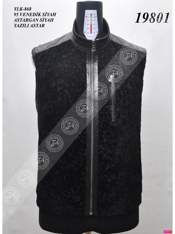 Franko Armondi Erkek Deri Yelek Fa3 YLK-868 - 19801 Siyah Fa3