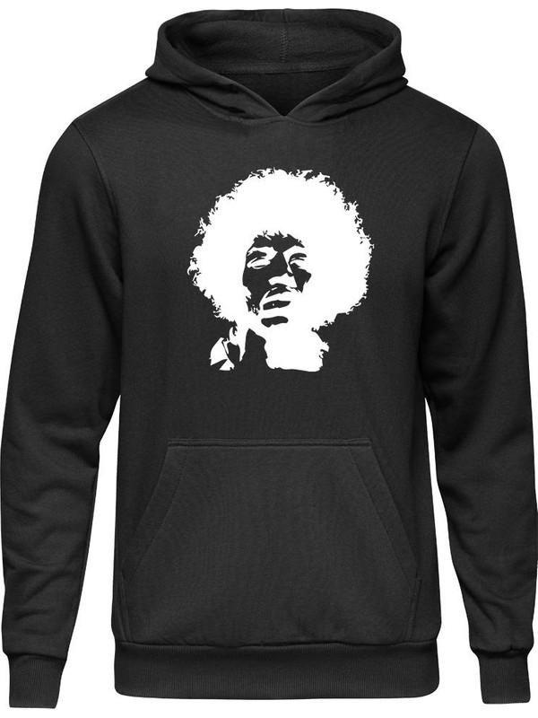 Fandomya Acdc Jimi Hendrix Klasik Siyah Kapşonlu Hoodie