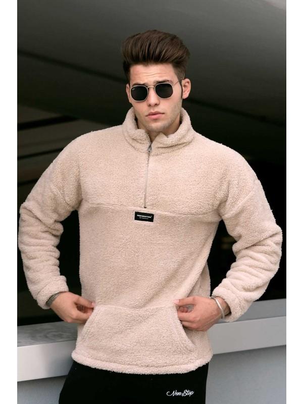 Madmext Bej Peluş Erkek Sweatshirt 4761
