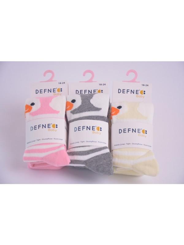 Defnee Baby 3 Lü Ördek Baskılı Kız Çocuk Külotlu Çorabı Pembe-Gri-Sarı