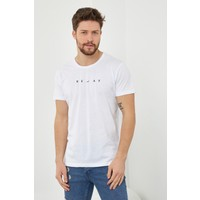 Tarz Cool Erkek Beyaz Baskılı Slim Fit Likralı T-SHIRT-RLXTSR06S