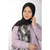 Harem Monalisa Çiçek Şal - Siyah-Saks