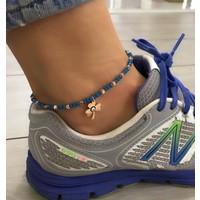 Serpil Jewellery Koyu Mavi Kristal Taş Nazarlı Şans Yoncalı Alaçatı Halhalı