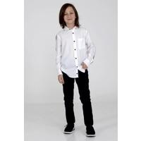 Silversun Beyaz Ren Kli Kol Yan Ları Şeritli Önden Düğmeli Uzun Kol Erkek Çocuk Gömlek gc 314848