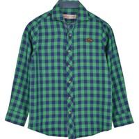 Silversun Yeşil Ren Kli Kareli Önden Düğmeli Uzun Kol Erkek Çocuk Gömlek gc 316254