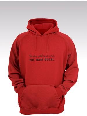 Tonny Mood Yol Nası Güzel 214 Kırmızı Kapşonlu Sweatshirt - Hoodie