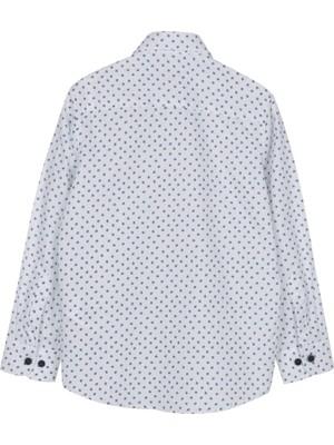 Silversun Beyaz Ren Kli Desen Li Gizli Cep Detaylı Önden Düğmeli Uzun Kol Erkek Çocuk Gömlek gc 316252
