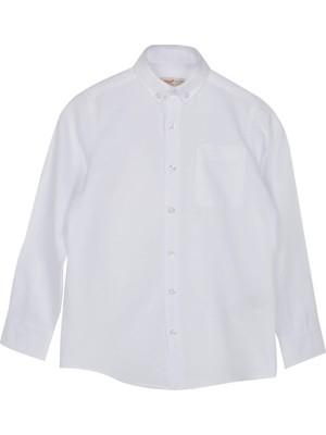 Silversun Beyaz Ren Kli Uzun Kol Cepli Önden Düğmeli Klasik Erkek Çocuk Gömlek|gc 316329