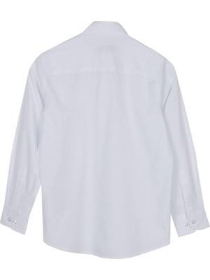 Silversun Beyaz Ren Kli Uzun Kol Önden Düğmeli Klasik Erkek Çocuk Gömlek gc 316358