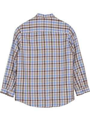 Silversun Kahveren Gi Ren Kli Hakim Yaka Uzun Kol Cepli Önden Düğmeli Kareli Erkek Çocuk Gömlek gc 316330