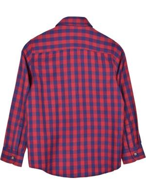 Silversun Kırmızı Ren Kli Kareli Önden Düğmeli Uzun Kol Erkek Çocuk Gömlek gc 316254