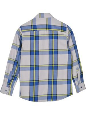 Silversun Saks Ren Kli Uzun Kol Cepli Önden Düğmeli Kareli Erkek Çocuk Gömlek gc 316357