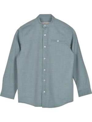 Silversun Yeşil Ren Kli Uzun Kol Cepli Önden Düğmeli Klasik Erkek Çocuk Gömlek gc 316332
