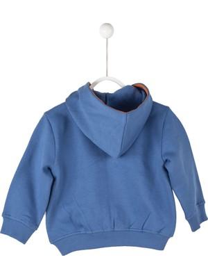 Silversun Mavi Renkli Kapşonlu Baskılı Önden Fermuar Kapamalı Cepli Uzun Kol Bebek Erkek Sweatshirt jm 114629