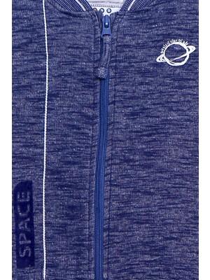 Silversun Mavi Renkli Sweat Shirt Örme Uzun Kollu Kadife Baskılı Fermuarlı Sweatshirt Bebek Erkek  jm 110183