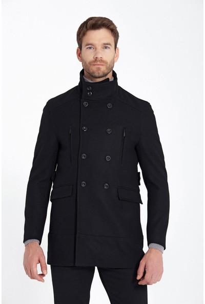 Hatemoğlu Siyah Düğme Yaka Yünlü Palto