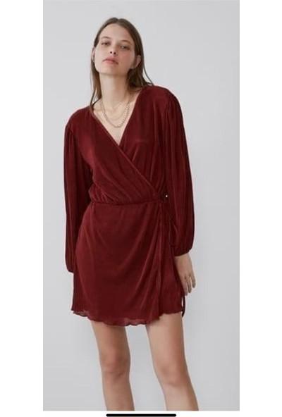 Alfa Abiye Kadın Mini Plise Kumaş Kruvaze Elbise 850
