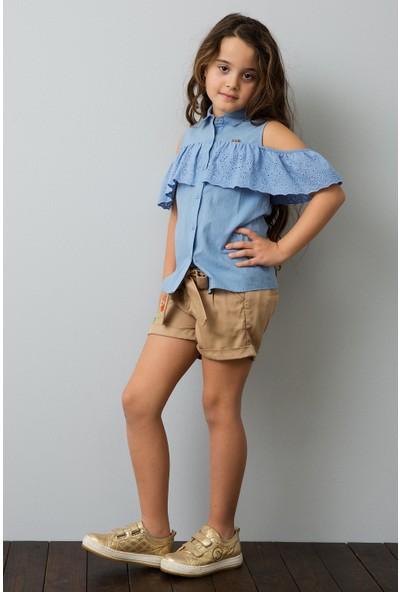 U.S. Polo Assn. Kız Çocuk Beyaz Dokuma Bermuda Capri 50187329-Vr011