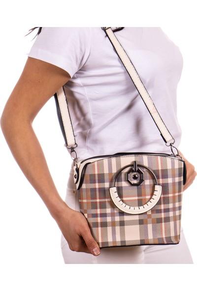 Victoria Polo Capella Bag&belt Kadın Ekose Desenli El ve Omuz Çantası Bej