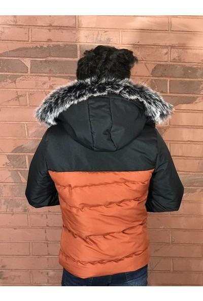 Brk Kombin Erkek Turuncu Iç Astarlı Kışlık Şişme Dolum Mont