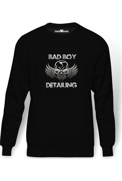Tshirthane Bad Boy Detailing Metal Rock Müzik Baskılı Siyah Erkek Örme Sweatshirt Uzun Kol