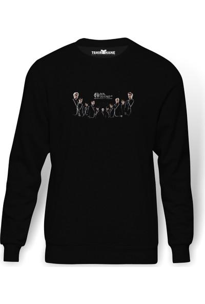 Tshirthane EXO FROM K Pop Baskılı Siyah Erkek Örme Sweatshirt Uzun kol