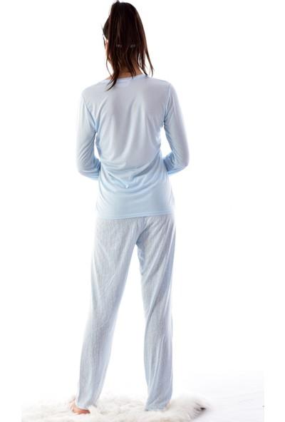 Pijamoni Pijamoni 2700-2 Desenli Uzun Kol Pijama Takımı Mavi